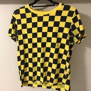 Checkered black and yellow t-shirt